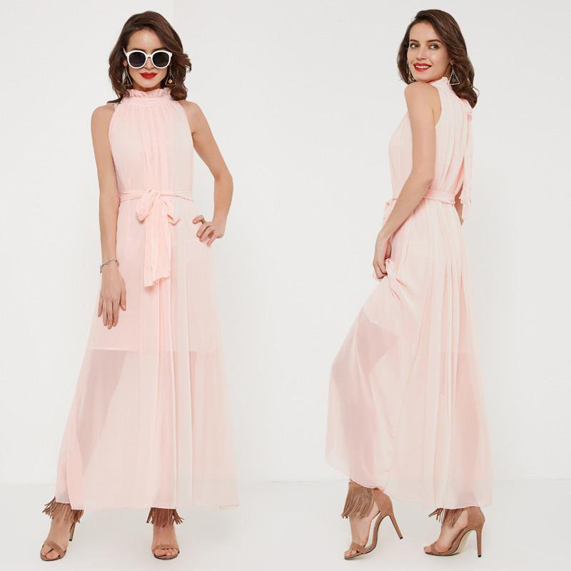 Women Summer Dress Sexy Strap Party Dress Elegant Sashes Femininos Sleeveless Long Beach Dresses-Dress-SheSimplyShops