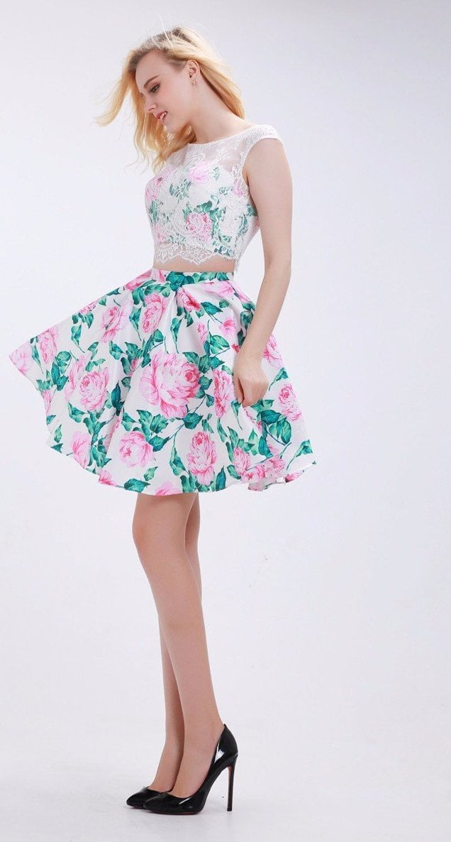 Flower Homecoming Dresses New Two-Piece Set Lace Crop Top Pink and Green Pattern Short Skirt Party Gowns for Girls-Dress-SheSimplyShops