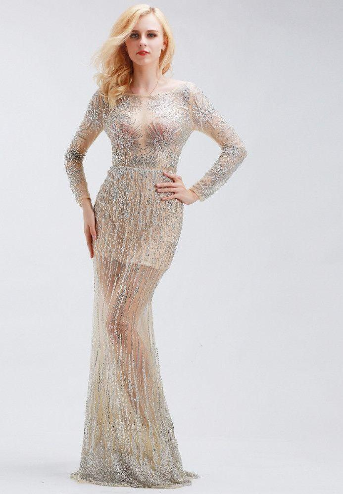 Celebrity Dresses Luxury Crystal Beading Long Sleeve Sexy Formal Evening Party Gowns Dresses-Dress-SheSimplyShops