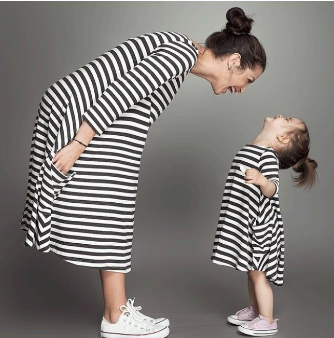 Mother And Daughter Striped Dress-Dress-SheSimplyShops