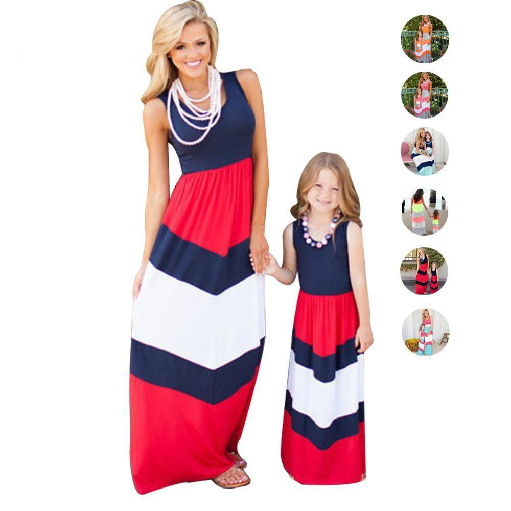 Matching Outfits Patchwork Striped Mother Daughter Dress-Dress-SheSimplyShops