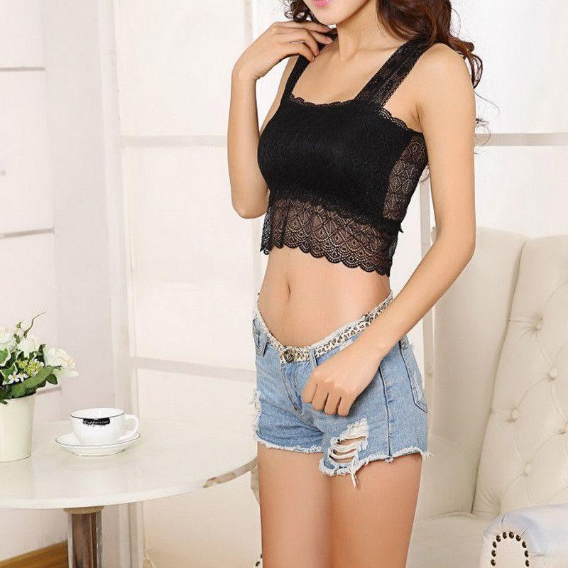 Design Women Sexy Lace Tank Top Strap Sleeveless Crop Top Back Hollow Bow Short Tee Vest Lace Bralette Summer Wome Top-Tanks-SheSimplyShops