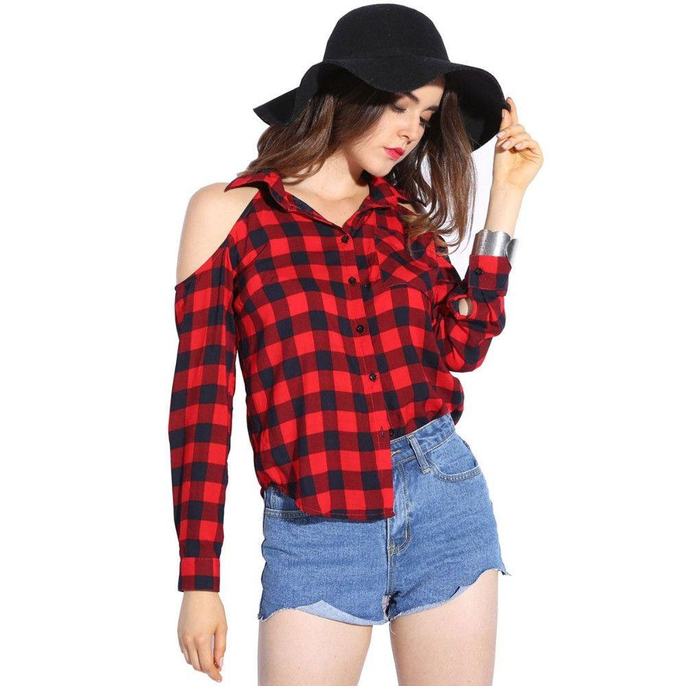 Cold Shoulder Women Shirts Spring Style Shirt Long Sleeve Ladies Tops Plaid Red Blouse Women Lapel Fashion Blouses-Blouse-SheSimplyShops