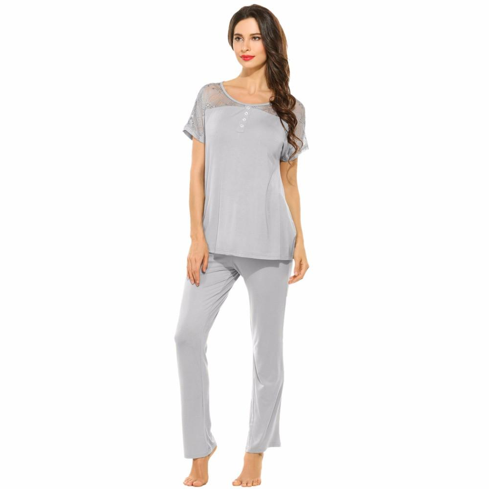 Spring Pajamas Set Female Short Sleeve Tops and Pants Women Sleepwear Lace Round Neck Nightewear Simple Style Home wear-PANTS-SheSimplyShops