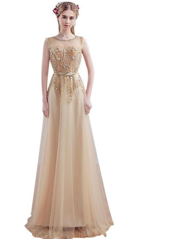 Luxury Gold Embroidery Beading Evening Dress Fashion Banquet Bride Long Party Prom Dresses Custom-Dress-SheSimplyShops