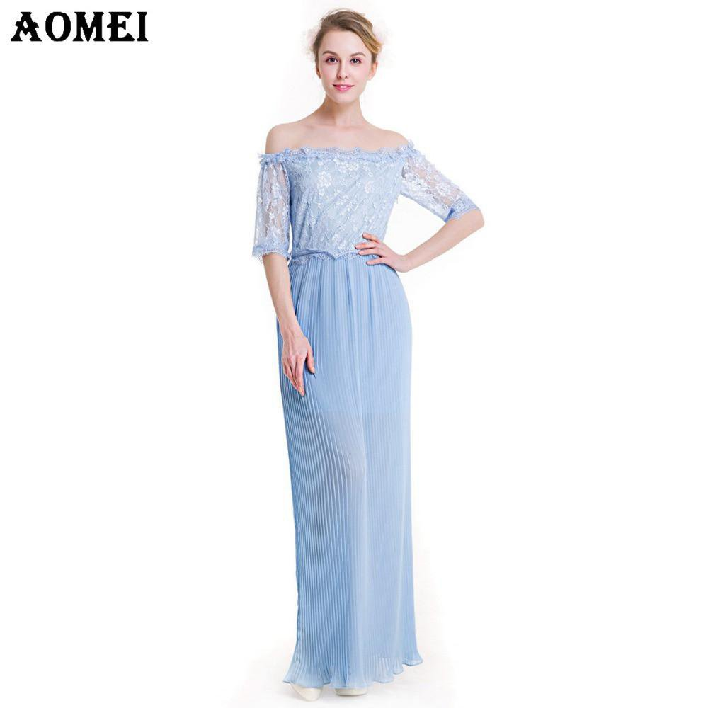 Women Lolita Off the Shoulder Lace Chiffon Patchwork Pleated Long Dress New Arrival Spring Summer Beach Blue Color Tunics-Dress-SheSimplyShops