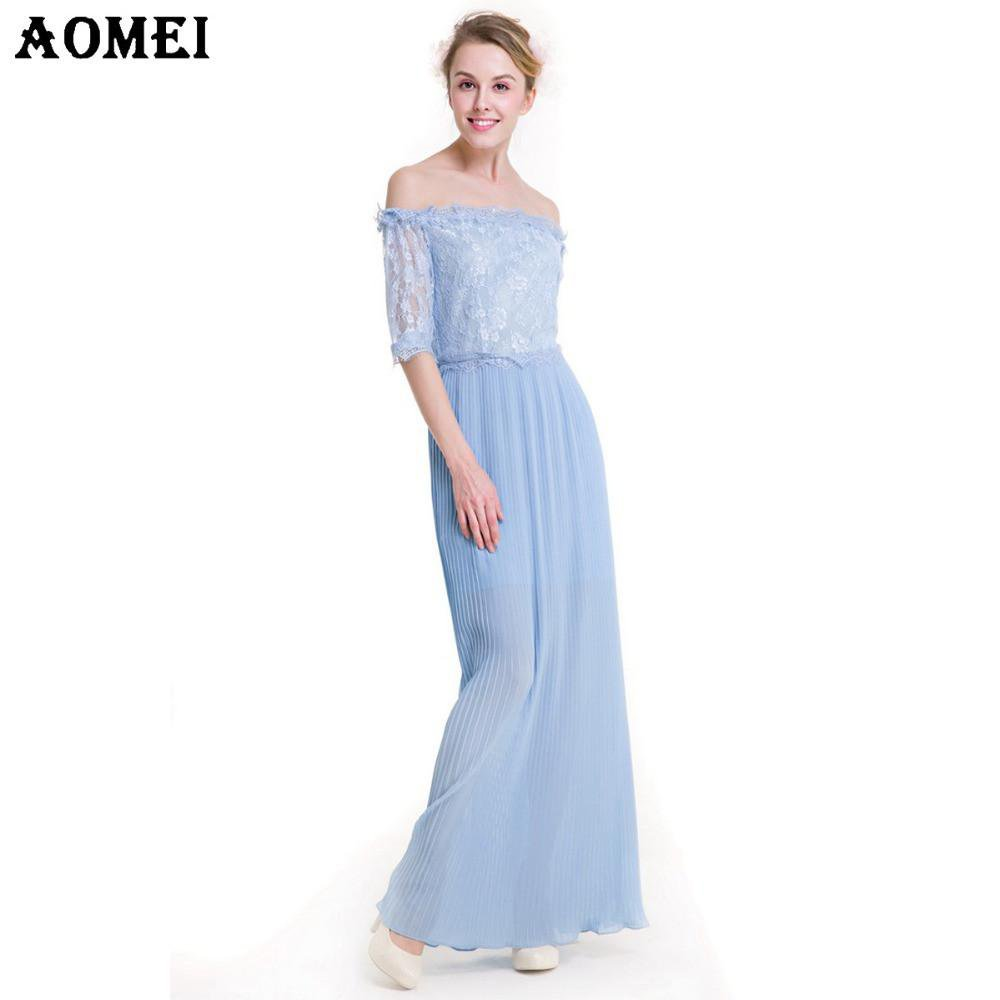 Women Off the Shoulder Lace Chiffon Patchwork Pleated Long Dress New Arrival Spring Summer Beach Blue Color-Dress-SheSimplyShops