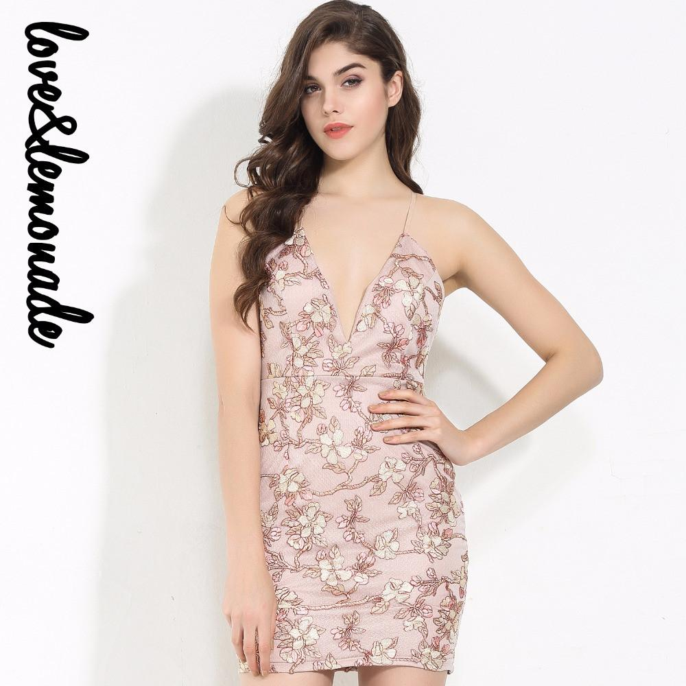 Pink Flower Lace V Collar Bodycon Dress-Dress-SheSimplyShops