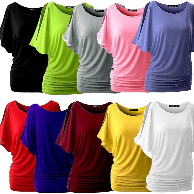 Summer Women Casual Plus Size T-Shirt Batwing Sleeve Shirts Solid O-Neck Cotton Blend-SHIRTS-SheSimplyShops