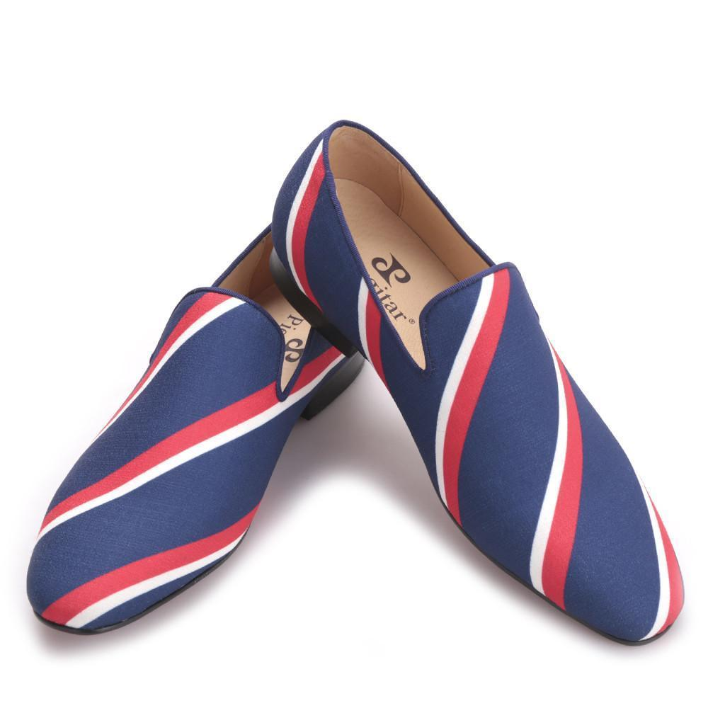Piergitar new Square toe blue canvas shoes with striped design Party and Banquet men dress loafers Leather insole men flats-Dress-SheSimplyShops