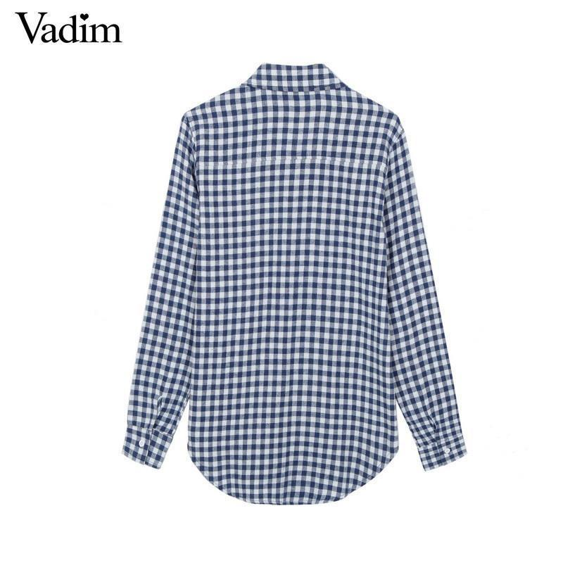 Women Checkered Small Plaid shirts Brushed blouses Blusas Femininas stand collar long sleeve work casual top-Blouse-SheSimplyShops