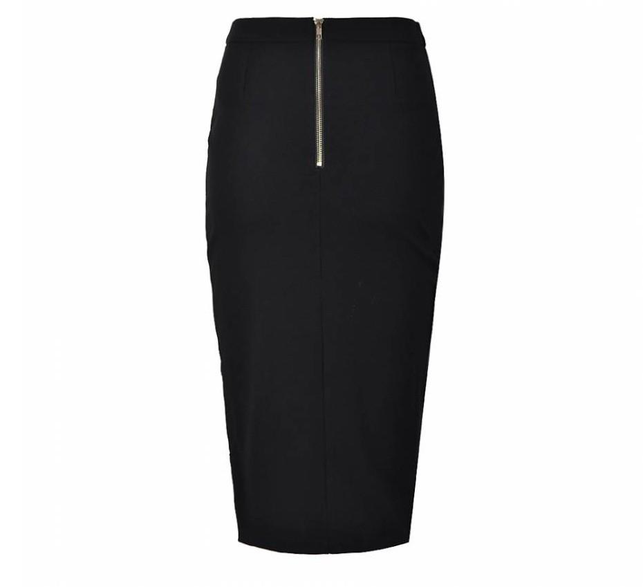 Womens Casual Solid Black Skirts Pencil Skirt Plus Size Women Clothing Sexy knitting Lady Midi Skirts-Dress-SheSimplyShops