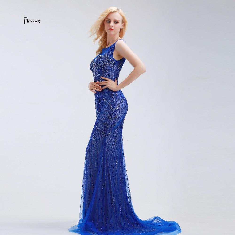 Long Evening Gowns Illusion See Through Back Crystal Beaded Fashion Womens Sexy Mermaid Evening Dresses Formal Royal Blue-Dress-SheSimplyShops