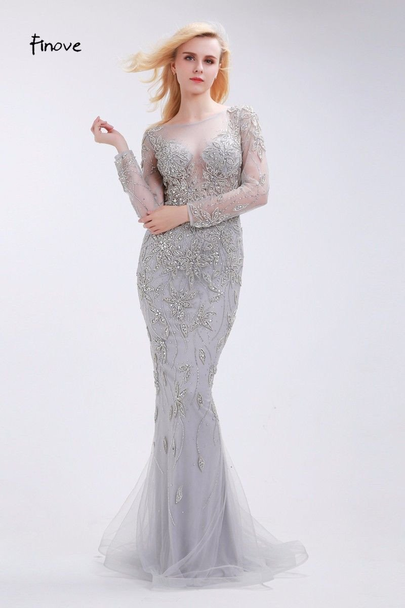 Beading Evening Dresses Classic Gray New Sexy Mermaid See-Through Tulle Elegant Floor-Length Sweep Train Long Dress-Dress-SheSimplyShops