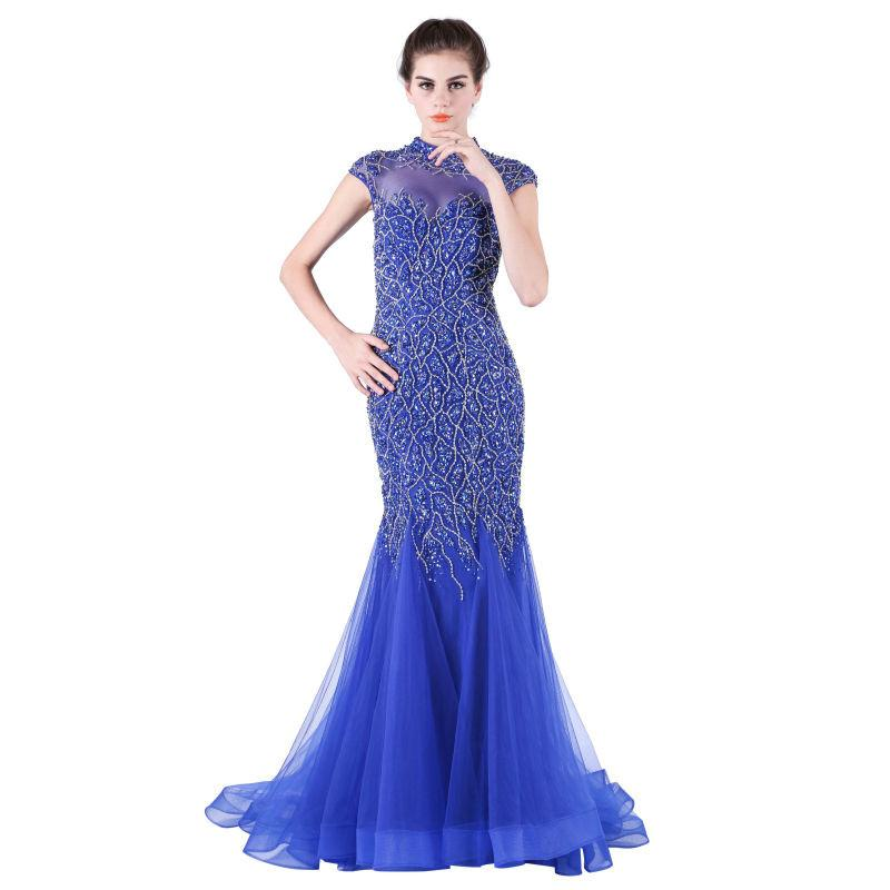 Royal Blue Evening Gowns High Neck Mermaid Beading Long Elegant Women Formal Dress-Dress-SheSimplyShops