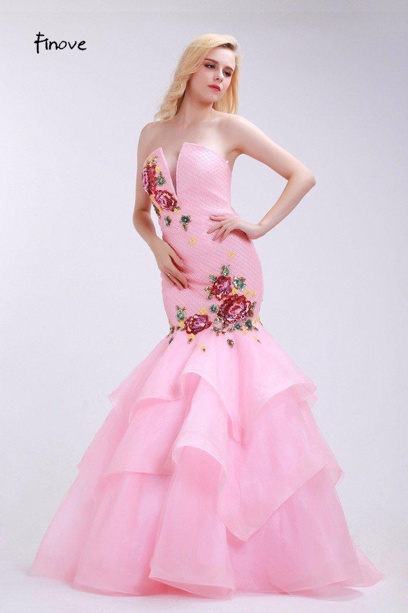 Pink Evening Dresses Flowers Appliques V-Neck Tiered Mermaid New Floor-Length Organza Party Gowns For Girls-Dress-SheSimplyShops