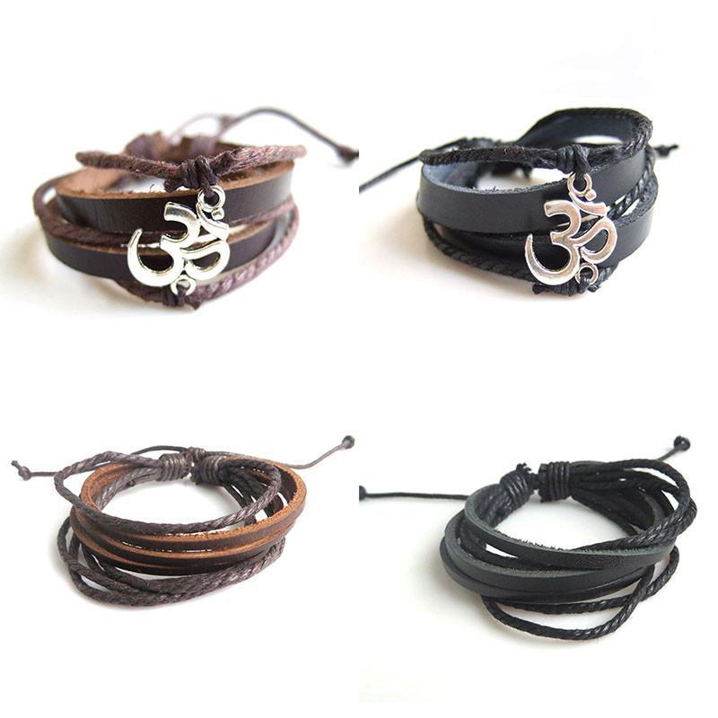 Antique OM YOGA Leather Strand Bracelet-BRACELETS-SheSimplyShops