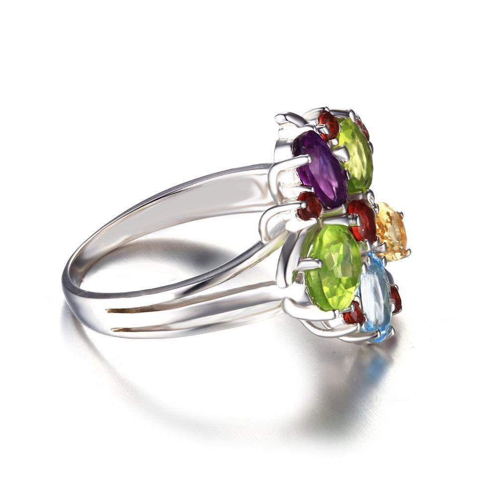 3ct Natural Amethyst Garnet Peridot Topaz Gemstone Cocktail Ring Pure Genuine 925 Sterling Silver Women Fine Jewelry-JEWELRY-SheSimplyShops