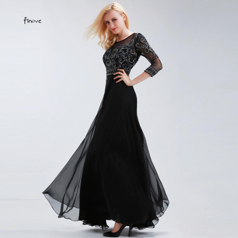 Mother of the Bride Dresses Three Quarter Sleeves Elegant A-Line Beaded Chiffon Long Formal Evening Gown-Dress-SheSimplyShops