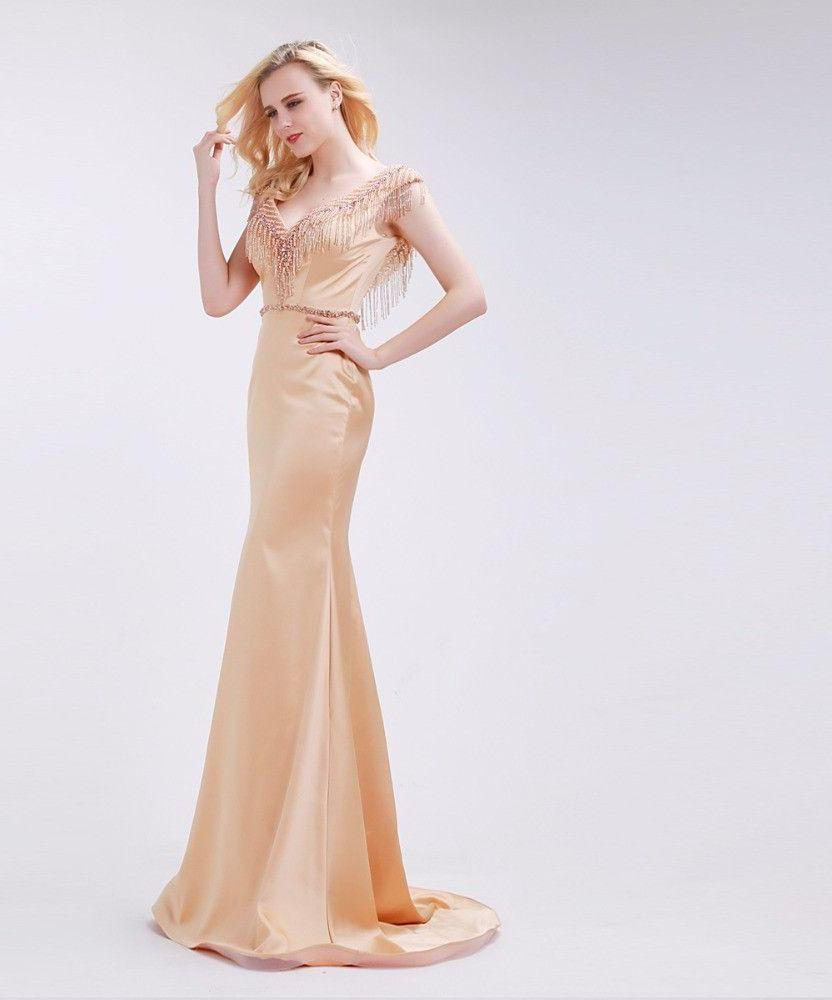 Big V-Neck Mermaid Prom Dresses New Backless Sleeveless Beading Tassel Champagne Satin Long Party Gowns for Woman-Dress-SheSimplyShops