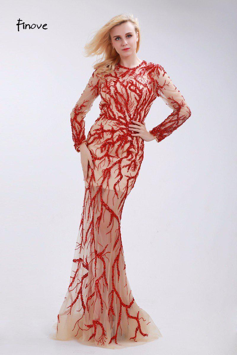 Red Beading Evening Dresses Stunning Sequins O-Neck Long Sleeve New See-Through Tulle Sweep Train Dresses for Woman-Dress-SheSimplyShops