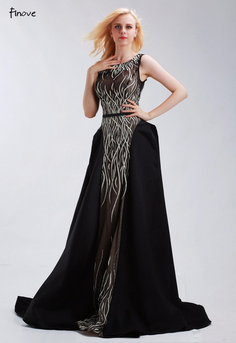 Formal Evening Gowns Dresses Black Floor-Length Long New Sleeveless O-Neck A-Line Beading and Embroidery-Dress-SheSimplyShops