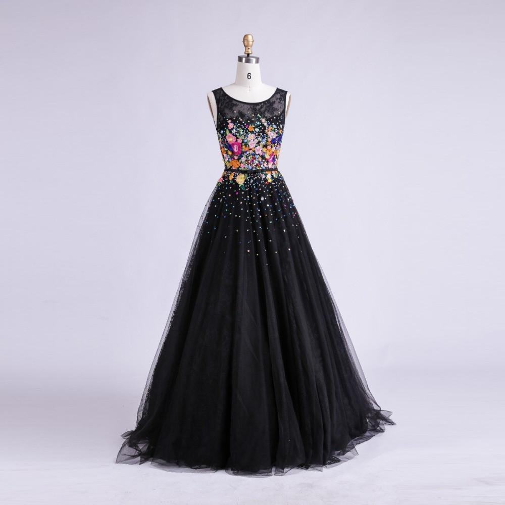 Women Long Black Evening Dress Sexy Tank Sleeveless Lace Tulle Appliques Ball Gown Formal Prom Dress-Dress-SheSimplyShops