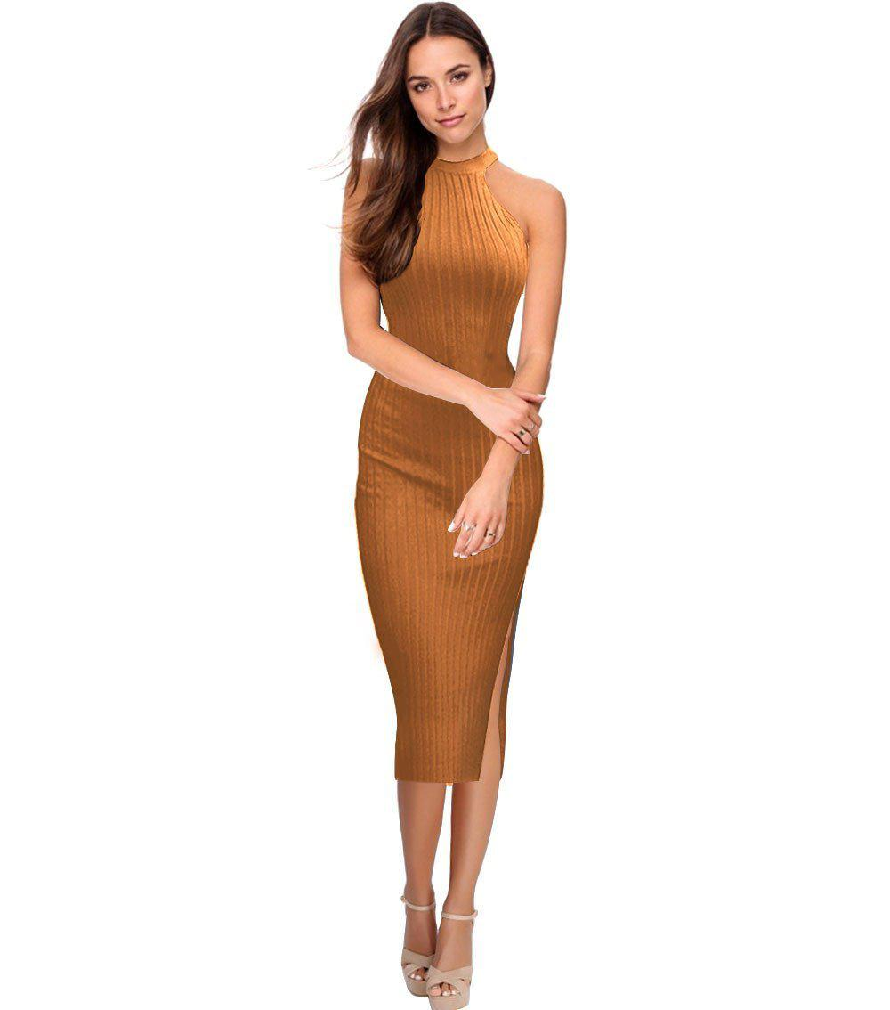 Sexy Sheath Women Dress Sleeveless Round Collar Maxi Long Dress Package Hip Fork Femal knitted Work Office Dresses-Dress-SheSimplyShops