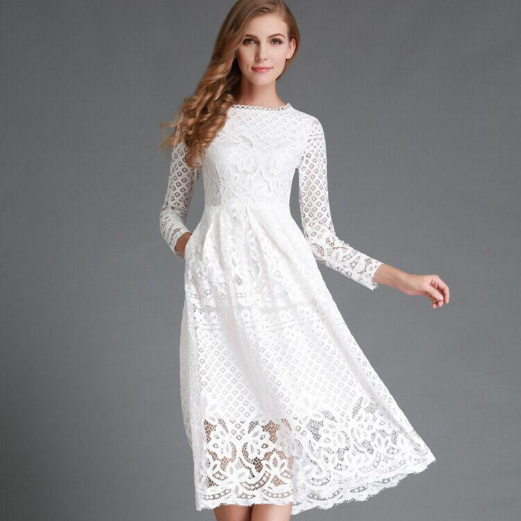 Casual White Lace Party Dress-Dress-SheSimplyShops
