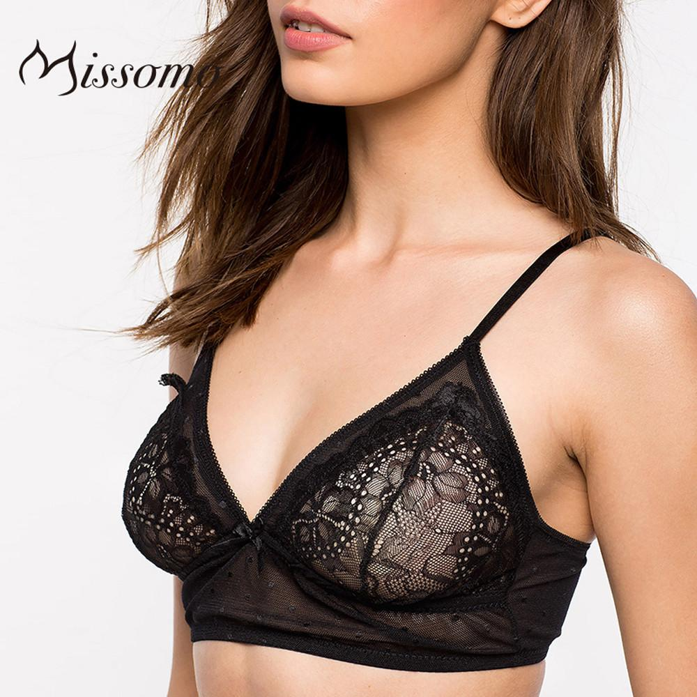 New Fashion Women Lace Trim Adjustable Straps Soft Summer Sexy Bralette Solid Black Lace Jacquard Bra-SheSimplyShops