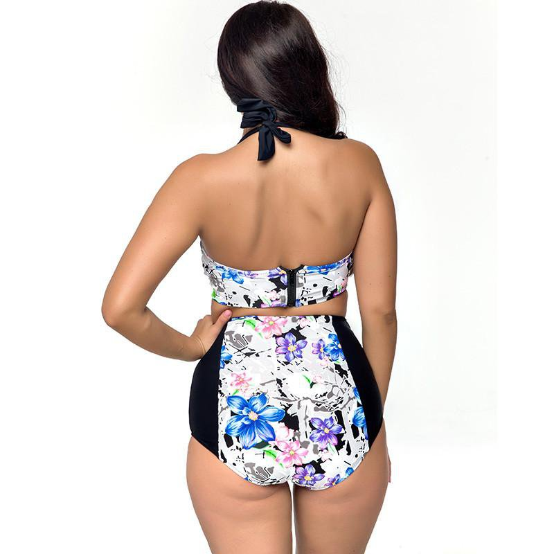 High Waist Push Up Plus Size Retro Bathing Suit-SWIMWEAR-SheSimplyShops