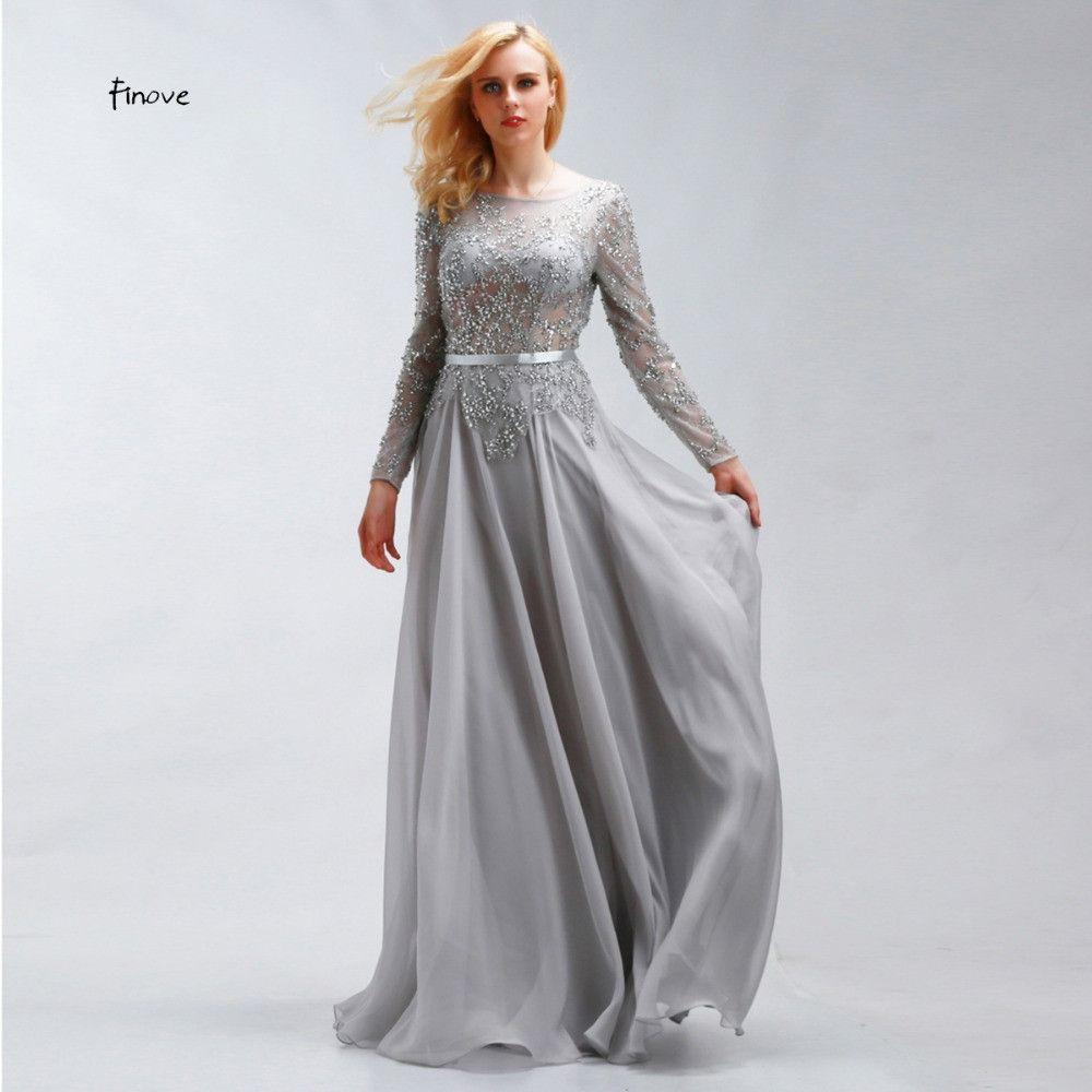 Crystal Beading Prom Dresses New Style Scoop Neck Sexy See-Through Long Sleeve Chiffon Fabric Party Dresses-Dress-SheSimplyShops