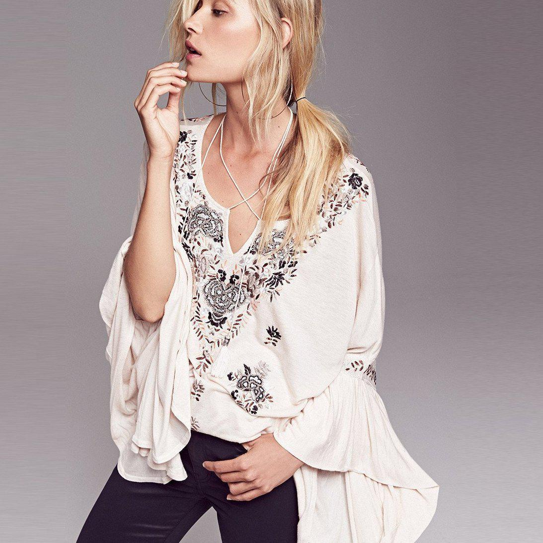 Siren Song Top Women Vintage Embroidery Floral Ruffle Cuffs V-Neck Plus Size Loose Shirt Tops Boho-SHIRTS-SheSimplyShops