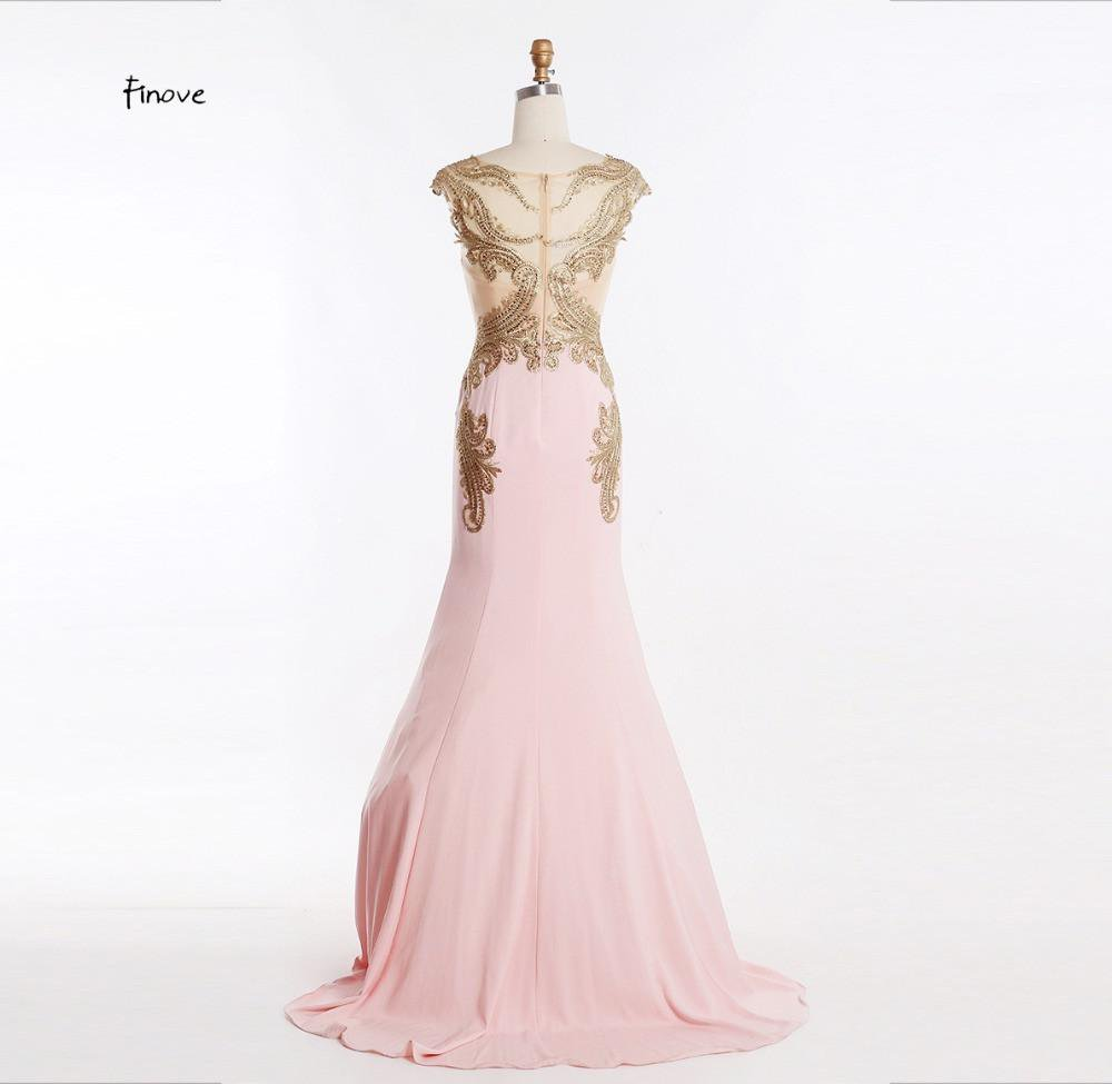 New Design Evening Dresses With Embroidery Beading Pink Long Elegant Prom Dresses Women Formal Gowns-Dress-SheSimplyShops