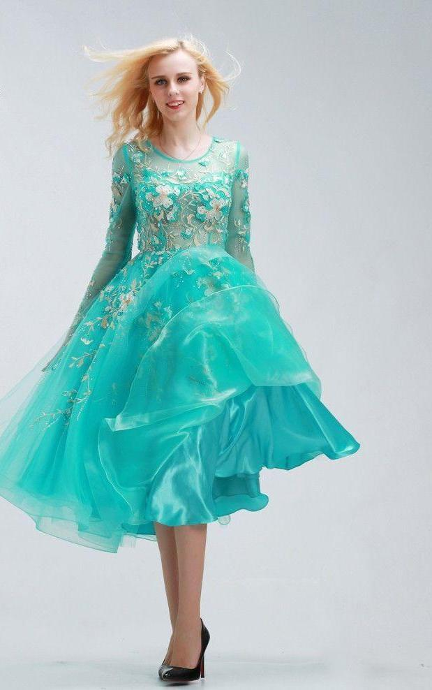 Beaded Prom Dresses Scoop Neck Long Sleeve Tulle With See Through Tea-Length Homecoming Dresses-Dress-SheSimplyShops