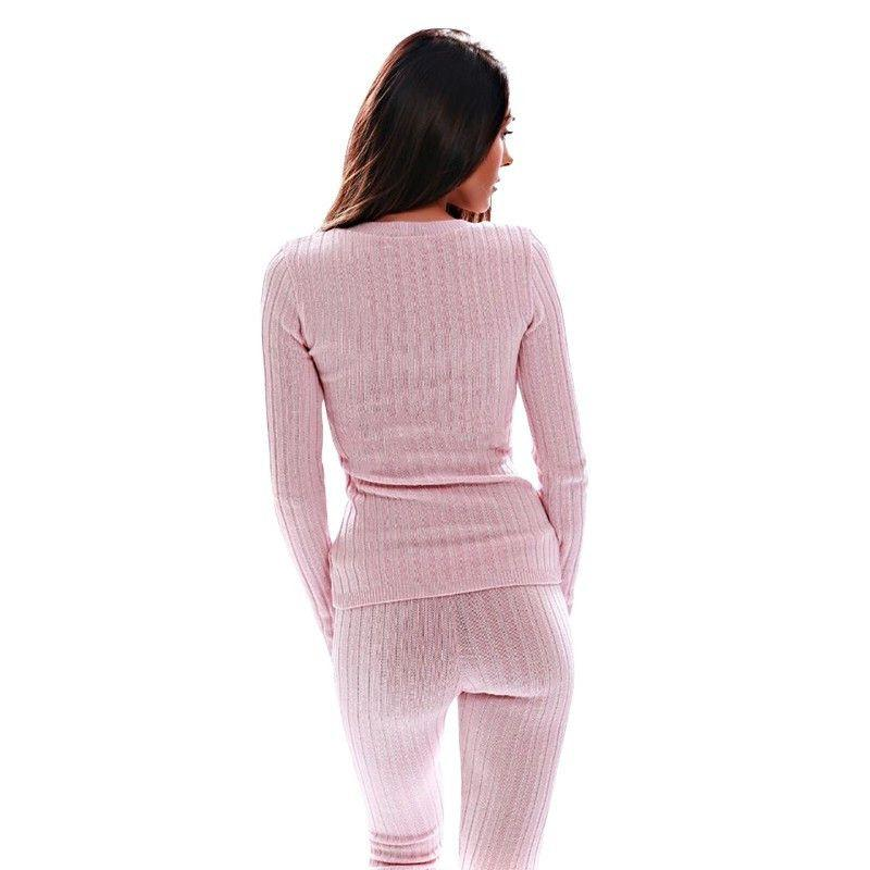 Fashion Lace up Deep V neck Long Sleeve Bodycon Knitted Rompers Women Jumpsuit Two pieces Outfits Long Pants Pink Jumpsuits-ROMPERS & JUMPSUITS-SheSimplyShops