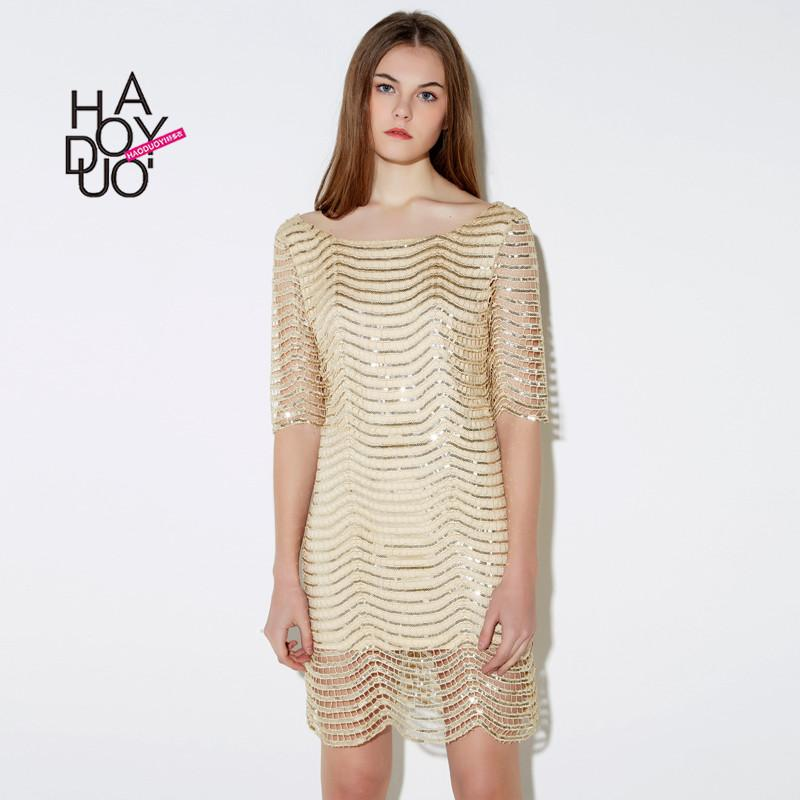 Haoduoyi Golden wave Lace Sequin Racer back dress Half sleeve women Party mini dresses vestidos for wholesale-Dress-SheSimplyShops