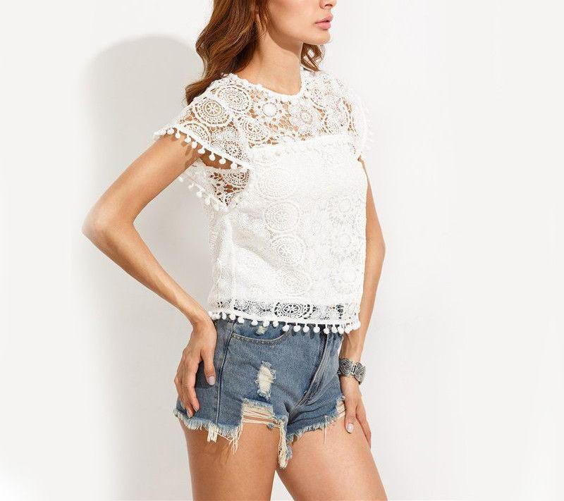White Pompom Trim Lace Cap Sleeve Round Neck Blouse-Bottoms-SheSimplyShops