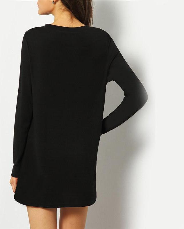 Autumn New Style Black Dip Hem Split Side Casual Tops Solid Round Neck Long Sleeve Loose T-shirt-Bottoms-SheSimplyShops
