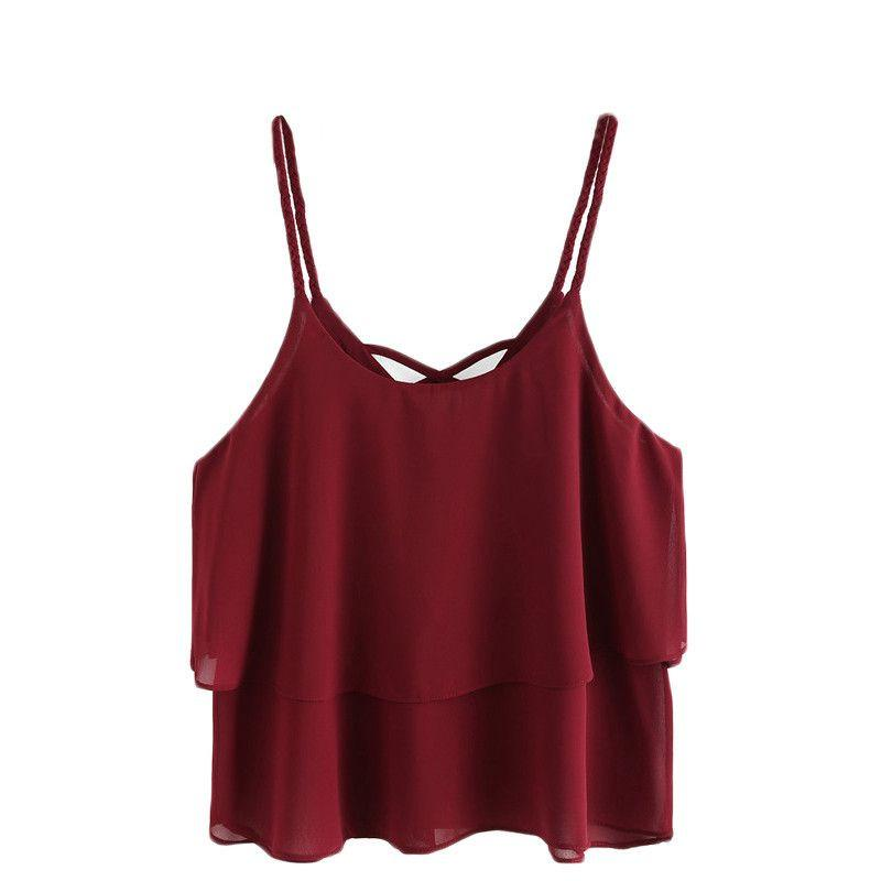 Brief Tops Women Burgundy Braided Crisscross Layered Chiffon Top Beach Backless Summer Cut Out Camisole-Bottoms-SheSimplyShops