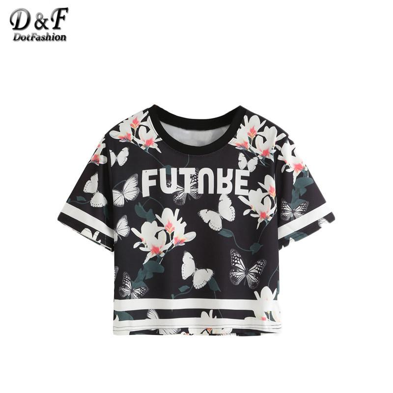 Summer T-shirt Women Black Floral and Butterfly Print Casual Varsity Tops New Fashion Short Sleeve T-shirt-Bottoms-SheSimplyShops