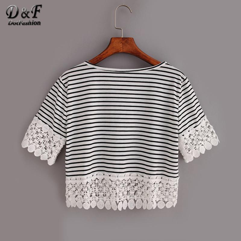 Ladies Lace Trimmed Black White Striped Crop Tops Woman Summer Casual Cute Short Sleeve Crew Neck T-shirt-Bottoms-SheSimplyShops