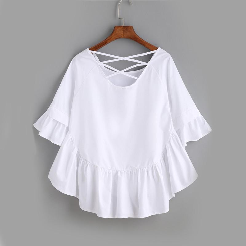 White Crisscross Back Ruffle Top Autumn Ladies Half Sleeve Round Neck Cute Shirt High Low Blouse-Bottoms-SheSimplyShops