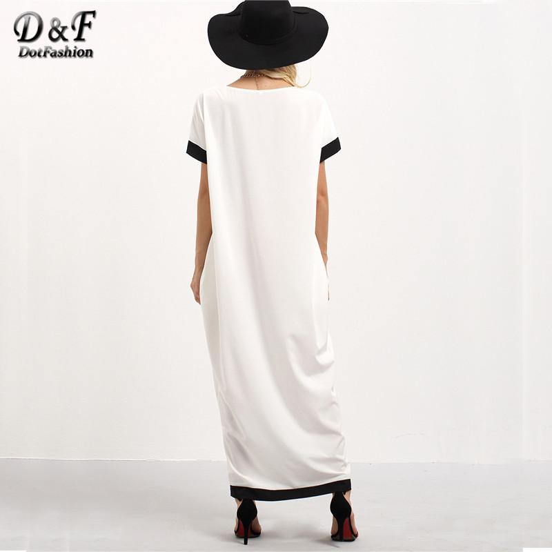 Female Patchwork White and Black Trim Contrast Twin Pockets Round Neck Short Sleeve Long Dress-Dress-SheSimplyShops