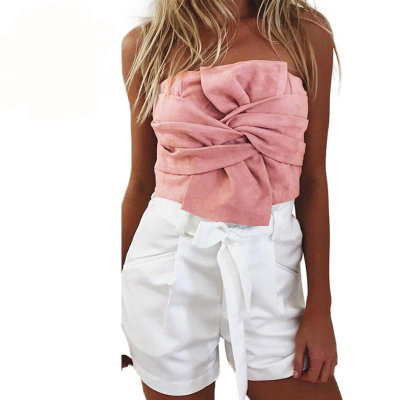 Summer Women Suede Crop Top Bow Front Slash Neck Sleeveless Tank Top Zipper Bustier Cropped Tube Tops Blusa Pink/Grey-Tanks-SheSimplyShops