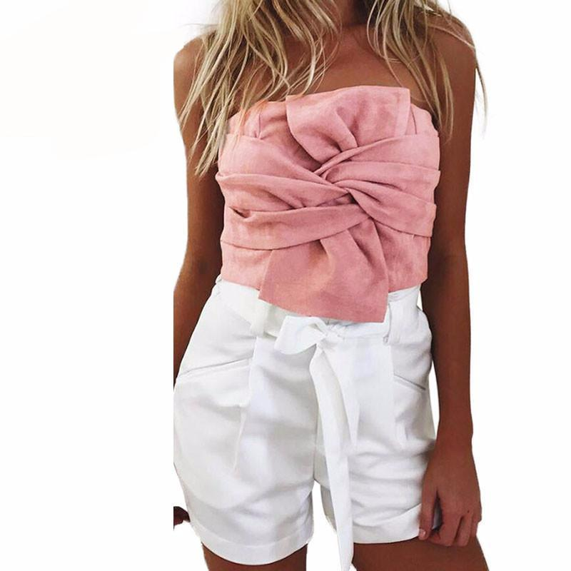 Summer Women Suede Crop Top Bow Front Slash Neck Sleeveless Tank Top Zipper Bustier Cropped Tube Tops Pink/Grey-Tanks-SheSimplyShops