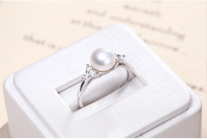 White Freshwater Pearl Ring Shiny Crystal Silver Ring Gift For Women Natural Pearl Ring Jewelry-JEWELRY-SheSimplyShops