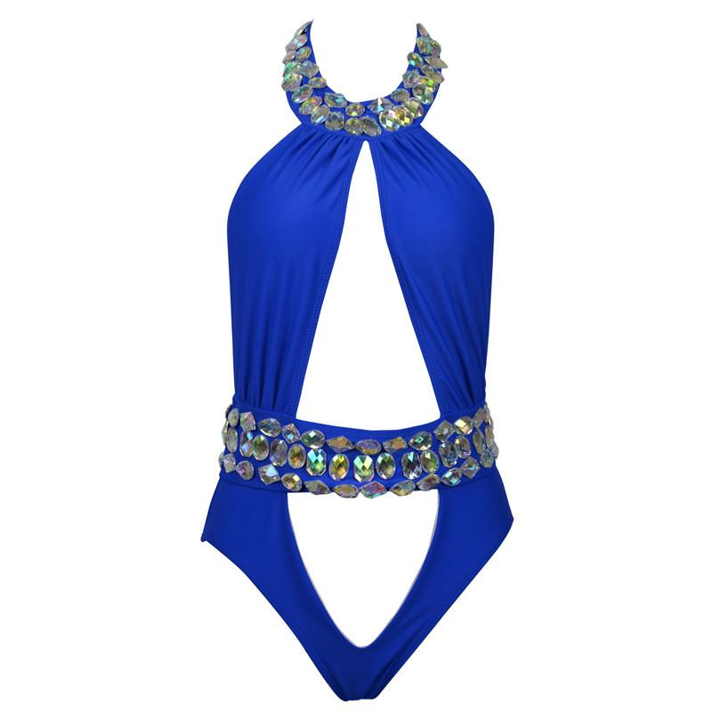 Cut Out Crystal Rhinestone One Piece Swimwear-SWIMWEAR-SheSimplyShops