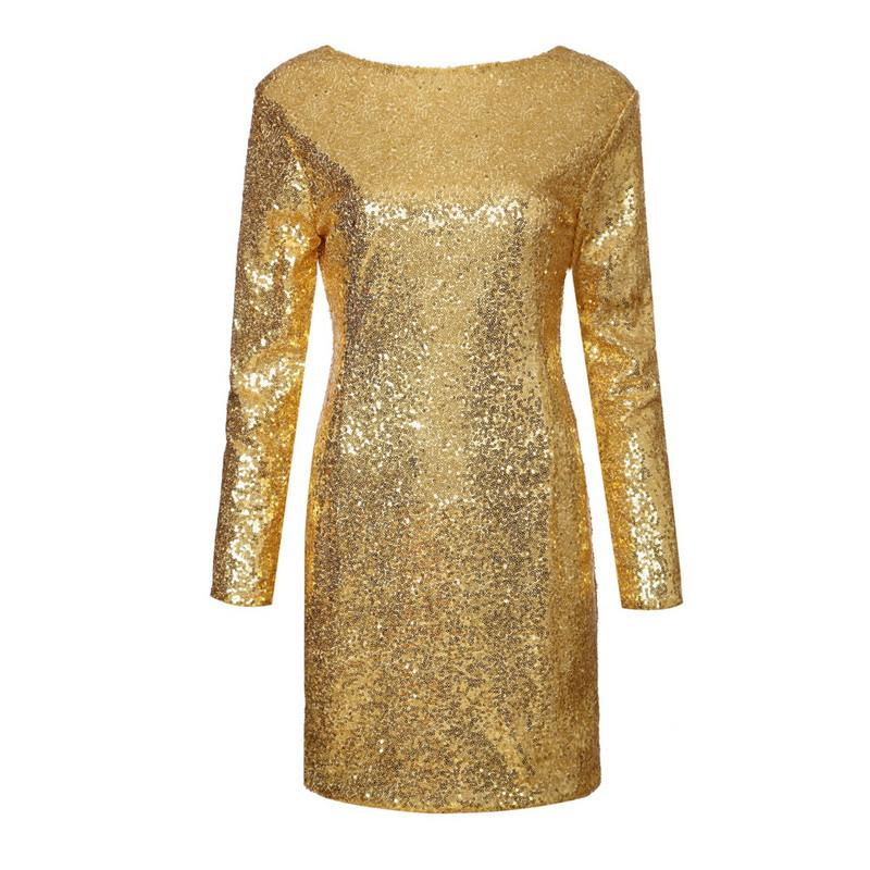 Sexy Backless Long Sleeve Sequined Dress-Dress-SheSimplyShops
