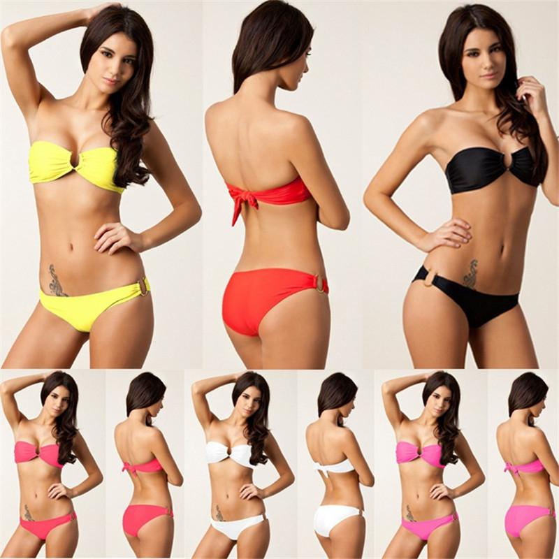 High Quality Women Biniki Sets Spring Top U Ringed Removable Push Pp Fully Lined Beach Bikini Swimming Swimsuit-Tops-SheSimplyShops